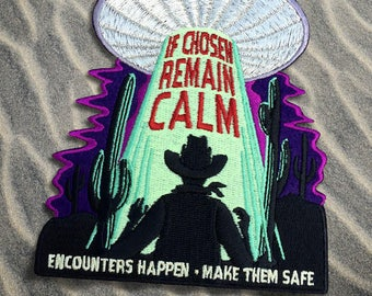 Alien Abduction Safety Cryptozoology Patch - UFO, UFOs, alien, extraterrestrials, flying saucer, glow in the dark