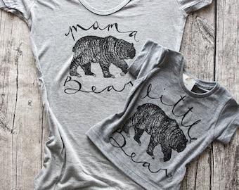 Family Bear Outfits - matching bear shirts, mommy and me, mama bear shirt, little bear, bear family shirts, momma bear baby bear, bamboo