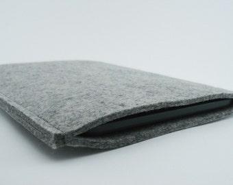 Kindle, Nook or Kobo Sleeve - 100% Merino wool - Gray - Portrait
