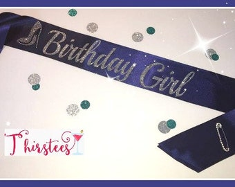 Navy birthday girl sash denim and diamonds sash denim and diamonds birthday Birthday Sash Party Sash great for 21st birthday 30th birthday