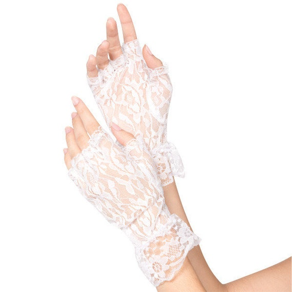 white Lace Gloves 80's party 80's Bride costume 80