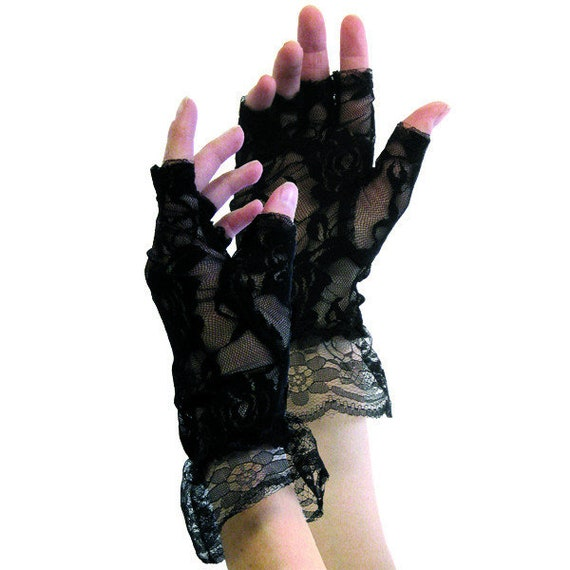 Black Lace Gloves 80's party 80's costume 80's glo