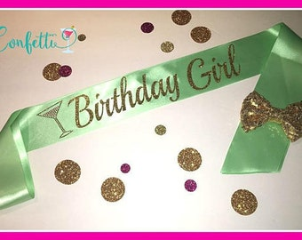 Gold birthday girl sash Birthday Sash Party Sash Adult birthday sash birthday sash birthday mint sash great for 21st birthday 30th birthday