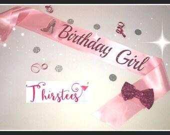 pink birthday girl sash Birthday Sash Party Sash Adult birthday sash birthday sash birthday mint sash great for 21st birthday 30th birthday