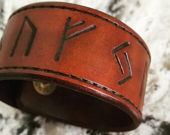 Leather RUNE Cuff . Runescript, Leather Wristband, Leather Cuff, Gifts