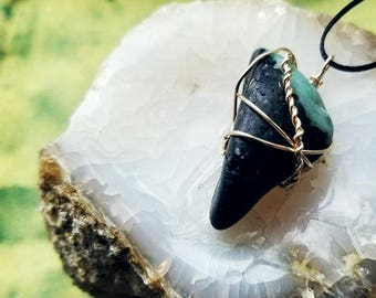 Emerald Amulet | Wire Wrapped Necklace | Pendant, Crystals, Gems, Jewelry, Spiritual, Rocks & Minerals, Natural, Stone