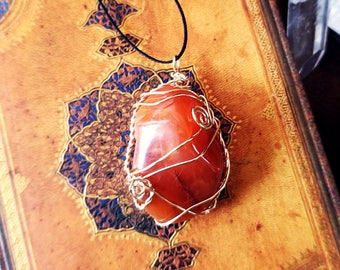Carnelian Amulet | Wire Wrapped Necklace | Pendant, Crystals, Gems, Jewelry, Spiritual, Rocks & Minerals, Natural, Stone