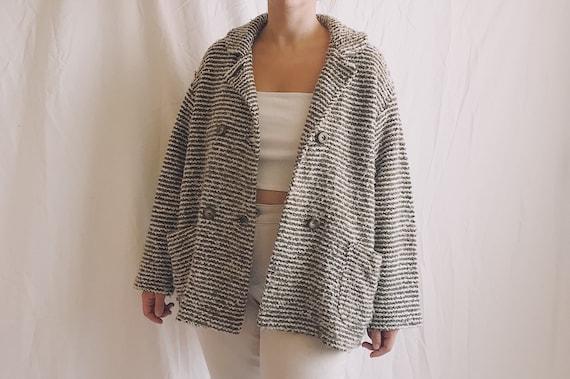 1990s Stripe Knit Sweater Coat
