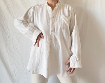 1970s Cheesecloth Gauze Menswear Henley Shirt