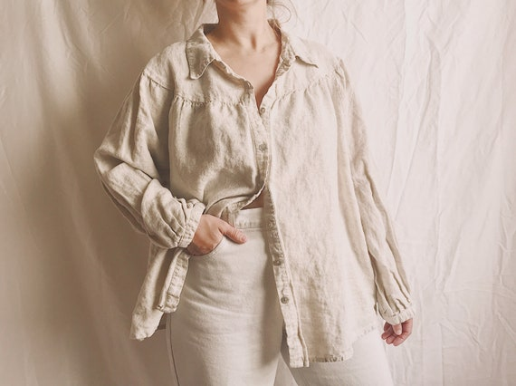 1990s Oversized Linen Balloon Sleeve Button Down B