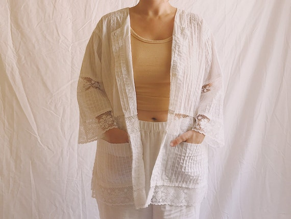 1970s Salma Lace Insert Chore Jacket