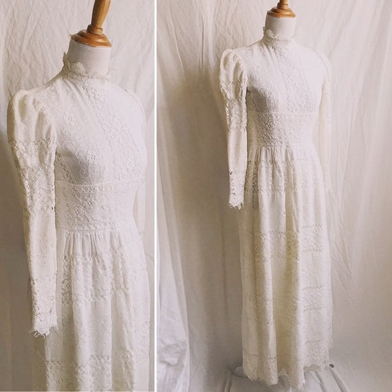 1960s Victorian Inspired Mutton Sleeve Lace Maxi o