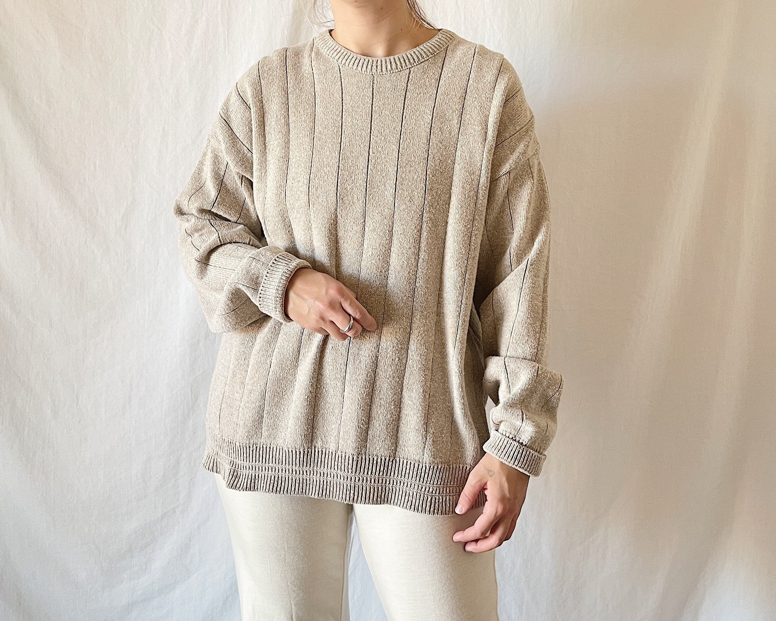 80s Sweatshirts, Sweaters, Vests | Women 1980S Oatmeal Cotton Blend Wide Rib Pullover Sweater $30.00 AT vintagedancer.com