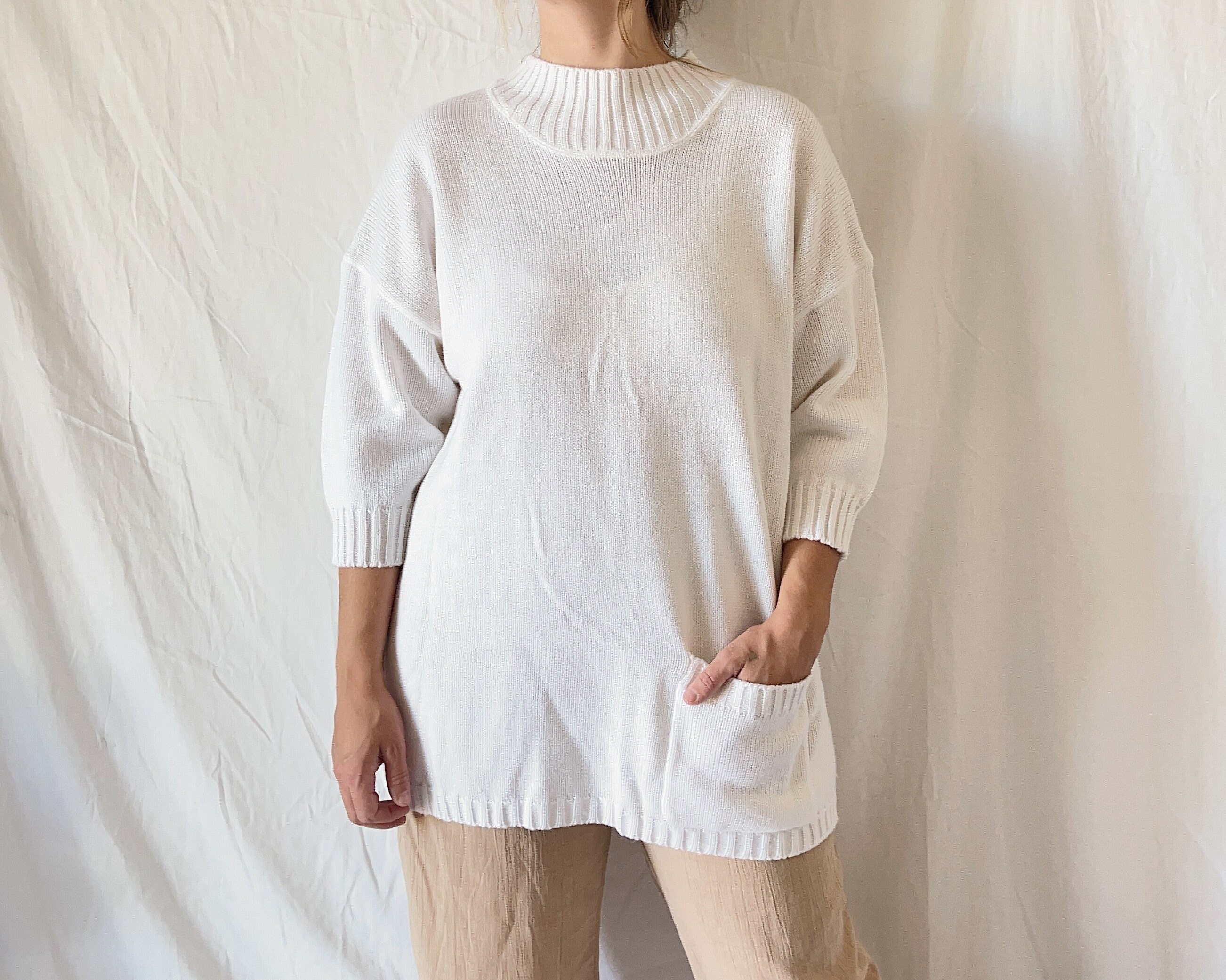 80s Sweatshirts, Sweaters, Vests | Women 1980S Cowlneck Tunic Sweater with Pocket $35.00 AT vintagedancer.com
