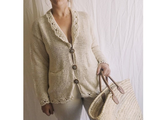 Vintage Raw Unbleached Cotton Cardigan