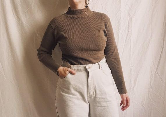1990s Ribbed Knit Thermal Mockneck Long Sleeve Tee