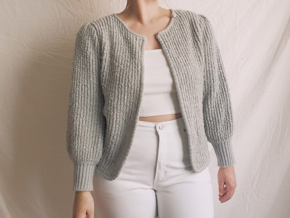 1980s Boucle Knit Puff Sleeve Cardigan