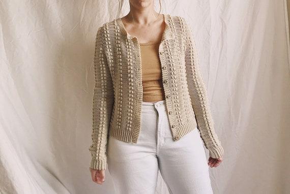 Vintage Popcorn Texture Chunky Knit Crochet Button