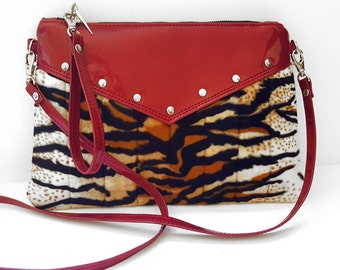 Tiger Purse, Crossbody Bag, Vinyl Purse, Rockabilly, Sparkle Vinyl Bag - MADE TO ORDER
