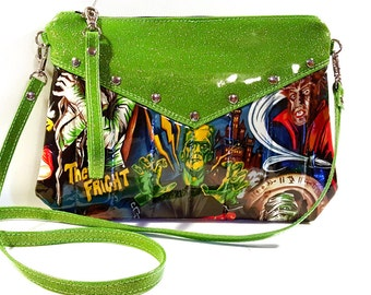 Monster Purse, Crossbody Bag, Vinyl Purse, Rockabilly, Halloween Bag - MADE TO ORDER