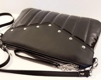 Black Vinyl Purse, Crossbody Bag, Vinyl Purse, Rockabilly, Vegan Leather - MADE TO ORDER