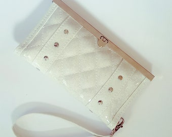 White Glitter Vinyl Wallet with Quilted Top-Stitching and Studded Trim, Rockabilly, Pinup - MADE TO ORDER
