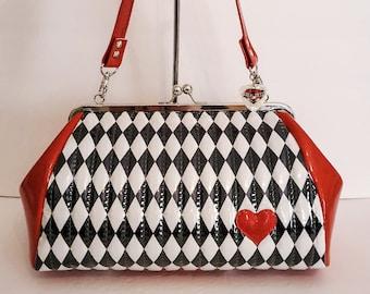 Harlequin Purse, Black and White Diamond Handbag - MADE TO ORDER