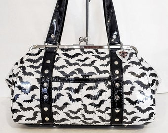 White and Black Bat Print Purse with Your Choice of Vinyl Trim - MADE TO ORDER