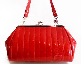 ba0c3642ab16c Ruby Red Sparkle Vinyl Purse, Retro Handbag, Rockabilly Bag- MADE TO ORDER