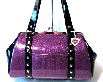 Purple Sparkle Purse Black Gloss Trim Vinyl Bag Rockabilly Psychobilly Handbag - MADE TO ORDER