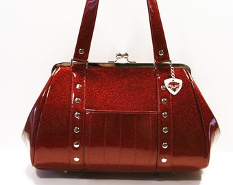 Maroon Glitter Purse Red Vinyl Bag Sparkle Handbag Rockabilly - MADE TO ORDER