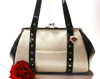 White Sparkle Purse Black Gloss Trim Vinyl Bag Rockabilly Psychobilly Handbag - MADE TO ORDER