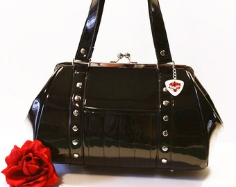 Black Gloss Vinyl Handbag Retro Purse Rockabilly Psychobilly Goth Punk - MADE TO ORDER