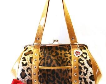 58b39c6b1d833 Leopard Rockabilly Purse, Faux Fur and Your Choice of Trim, Retro Glitter  Handbag - MADE TO ORDER