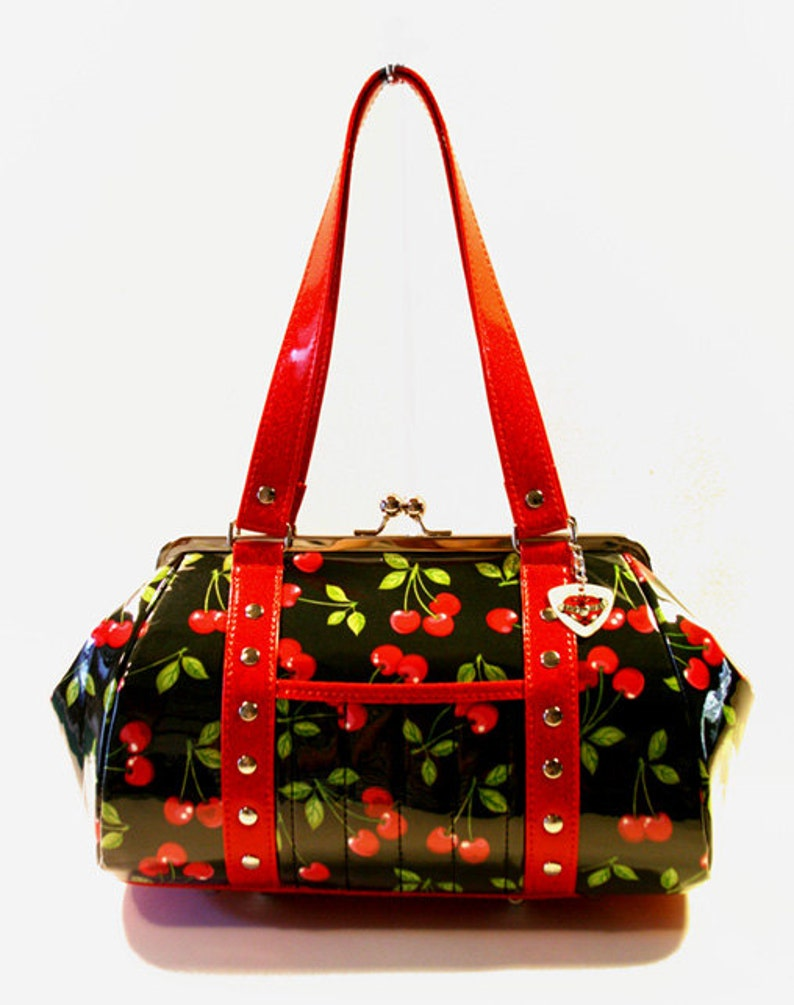 c7b19c936 Cherry Handbag Vinyl Trim Kisslock Frame Rockabilly Bag Pin Up | Etsy