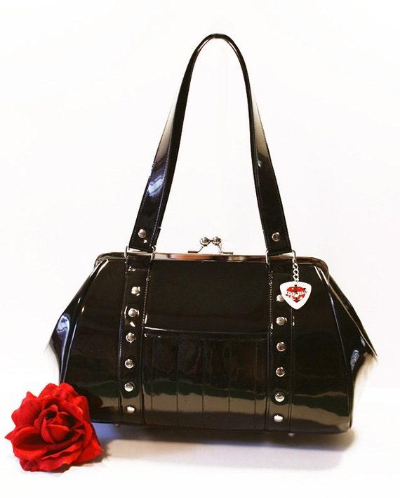 Black Gloss Vinyl Handbag Retro Purse Rockabilly Psychobilly Goth Punk   Made To Order by Etsy