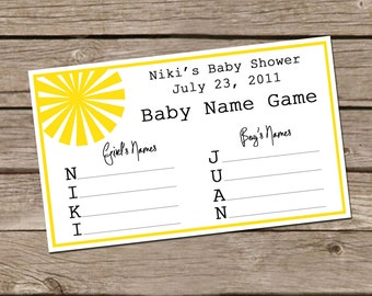 You Are My Sunshine - Name Game - Shower Game Card