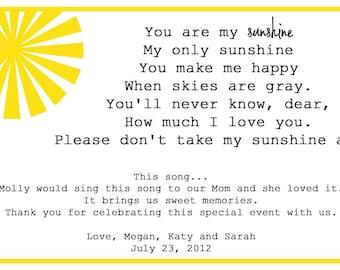 You Are My Sunshine - Song Lyrics Card