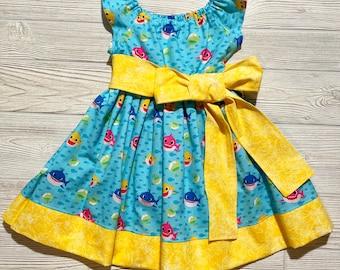 Baby Shark Themed Peasant Style Dress, Party Dress, Birthday Dress, Twirl Dress