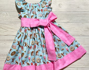 Curious George Sweet Treats Peasant Style Dress, Birthday party dress