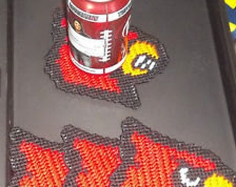 Louisville Cardnials Coasters Plastic Canvas Pattern