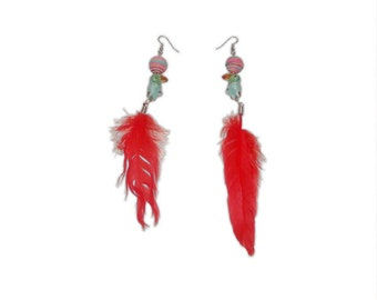 Glass Bird with Red Feather Earrings