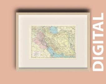 Iraq and Iran Vintage 1959 Map Print Home Library Decor Wall