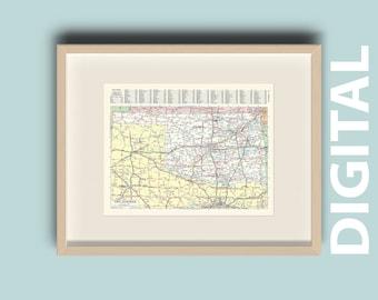 Oklahoma Atlas Map Etsy - Oklahoma-on-the-us-map