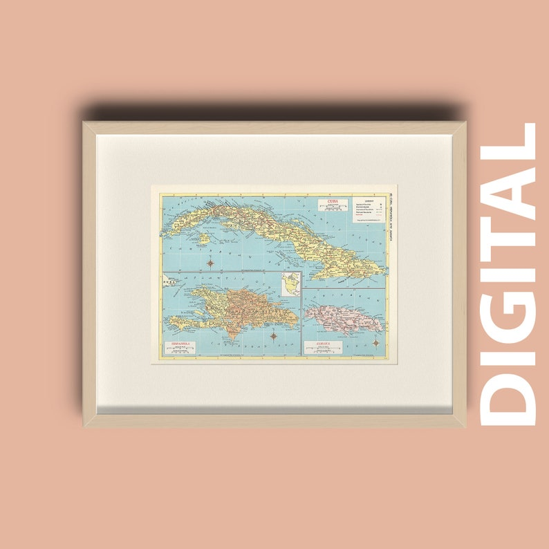 picture regarding Printable Map of the Caribbean named Common 1959 Caribbean Islands Map Fast Obtain, Printable Map, Property Library Decor, Wall Artwork, Antique