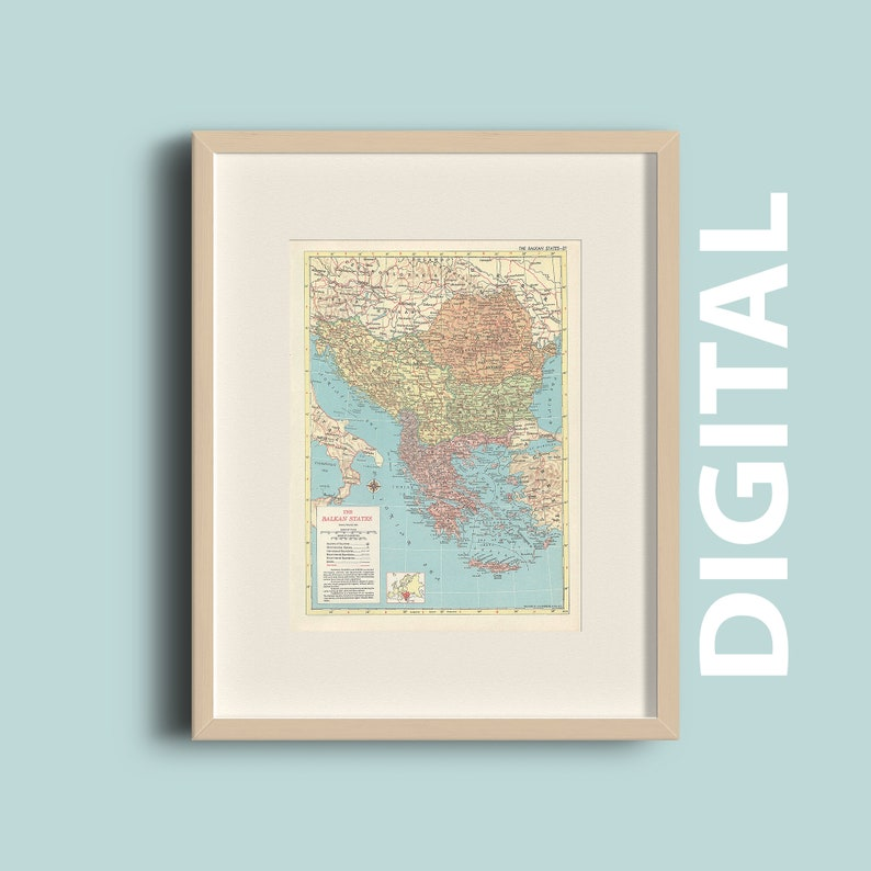 Vintage 1959 Baltic States Map Instant Download Printable   Etsy