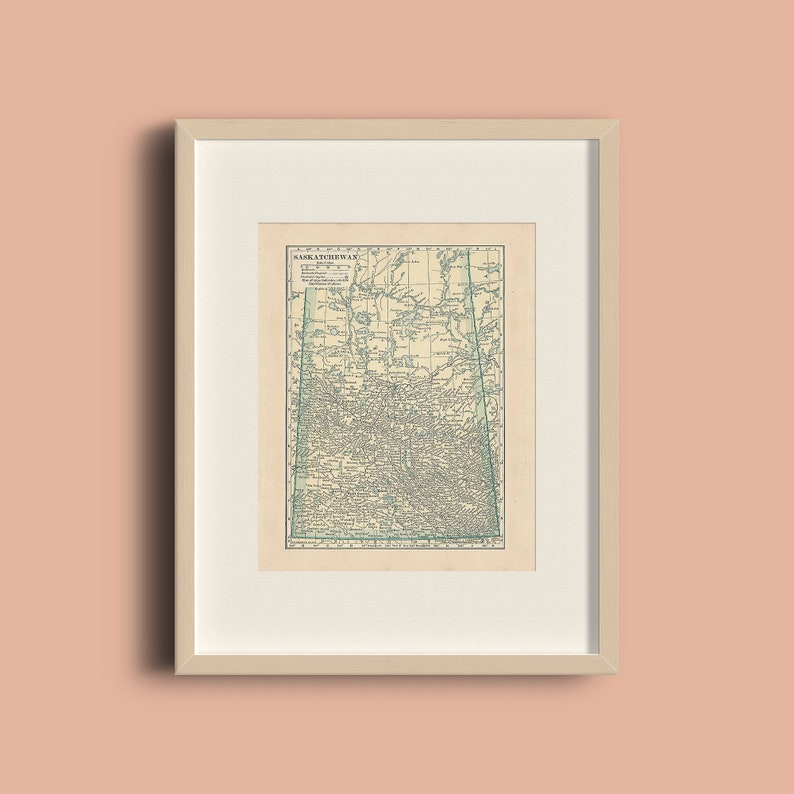 Antique Saskatchewan Canada Vintage 1923 Map Print Home Library Decor Wall Art