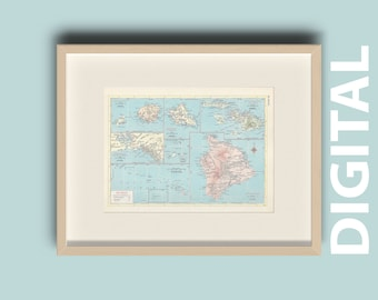 Hawaii Vintage 1959 State Map Instant Download, Printable Map, Home Library Decor, Wall Art, Antique