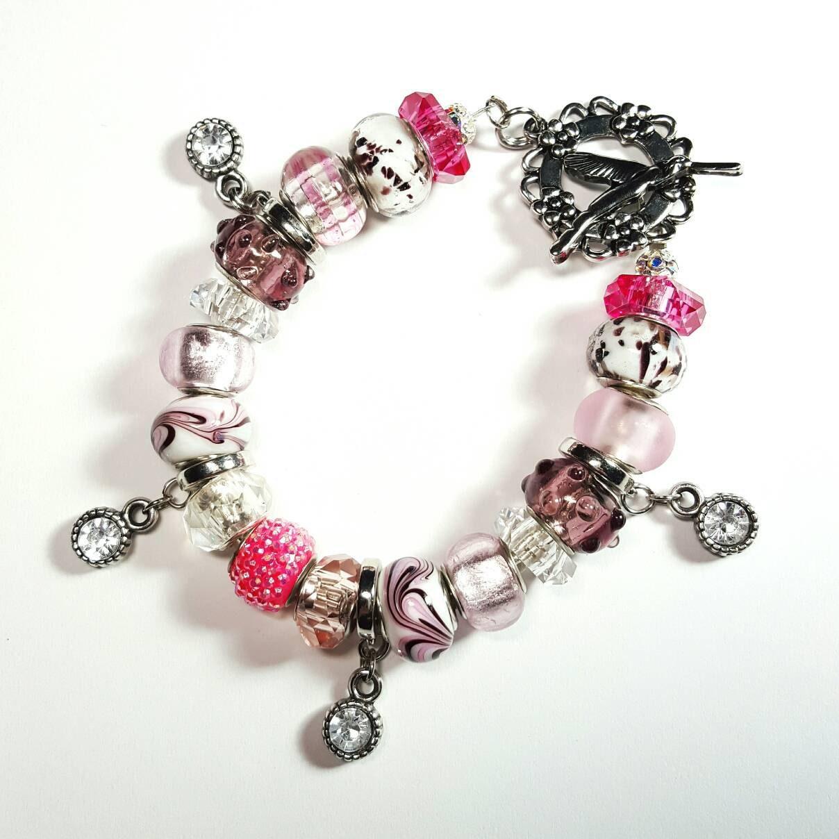 7ea568e2b0 SALE Pandora Bracelet w/Plum Spike Glass Beads/Pink Rhinestone  Beads/Shimmer Glass Beads/Swirl & Spotted/Silver Crystal Charms FREE  SHIPPING