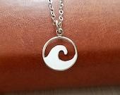Wave Necklace, Sterling Silver Ocean Wave Necklace, Ocean Wave Necklace, Beach Jewelry, Waves Pendant, Sea Wave Necklace, Wave Jewelry